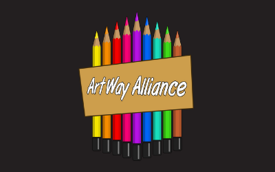 ArtWay Alliance logo image with colored pencils in A shape