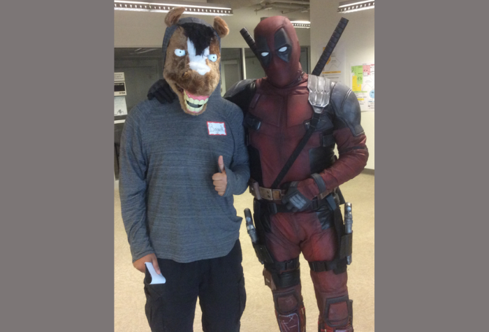 Cosplay characters dressed as Bojack and Deadpool