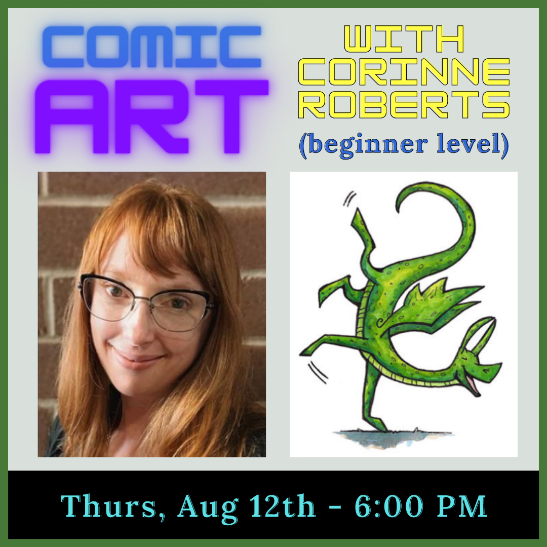 Image of Corinne Roberts with Cartoon dragon drawing