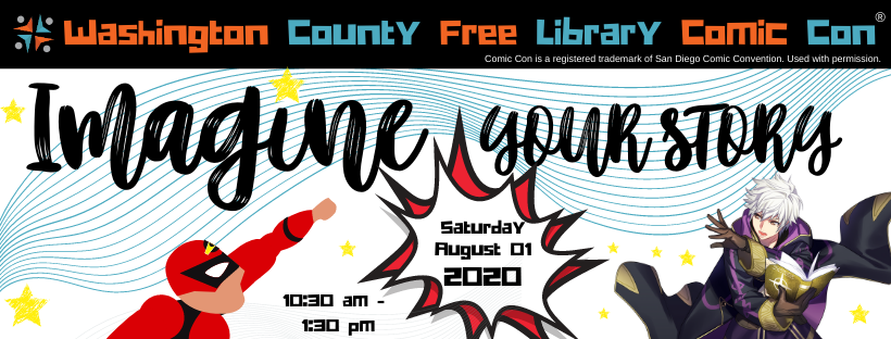 Washington County Free Library Comic Con logo
