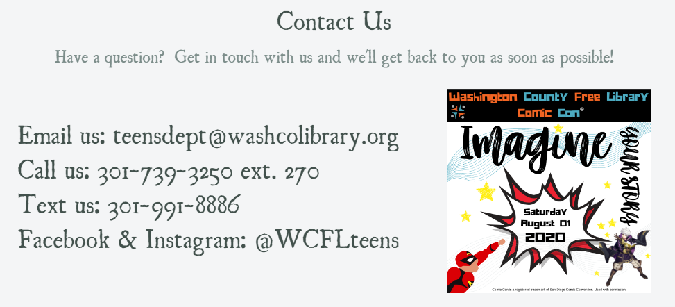 Contact us with Washington County Free Library Comic Con logo