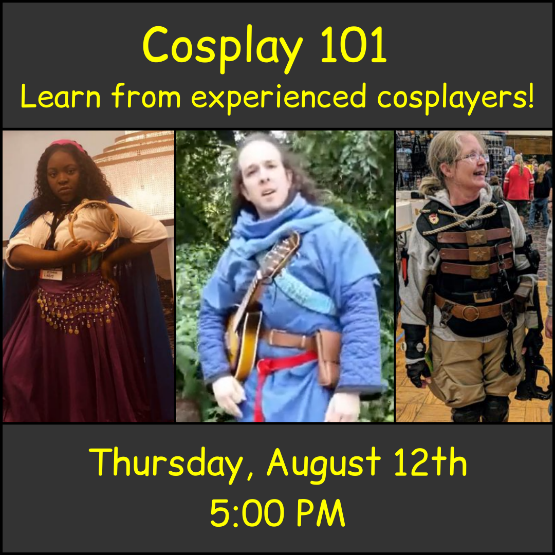 3 images of characters in cosplay