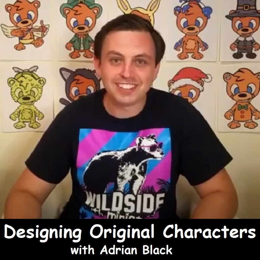 Image of Adrian Black with background of original character designs