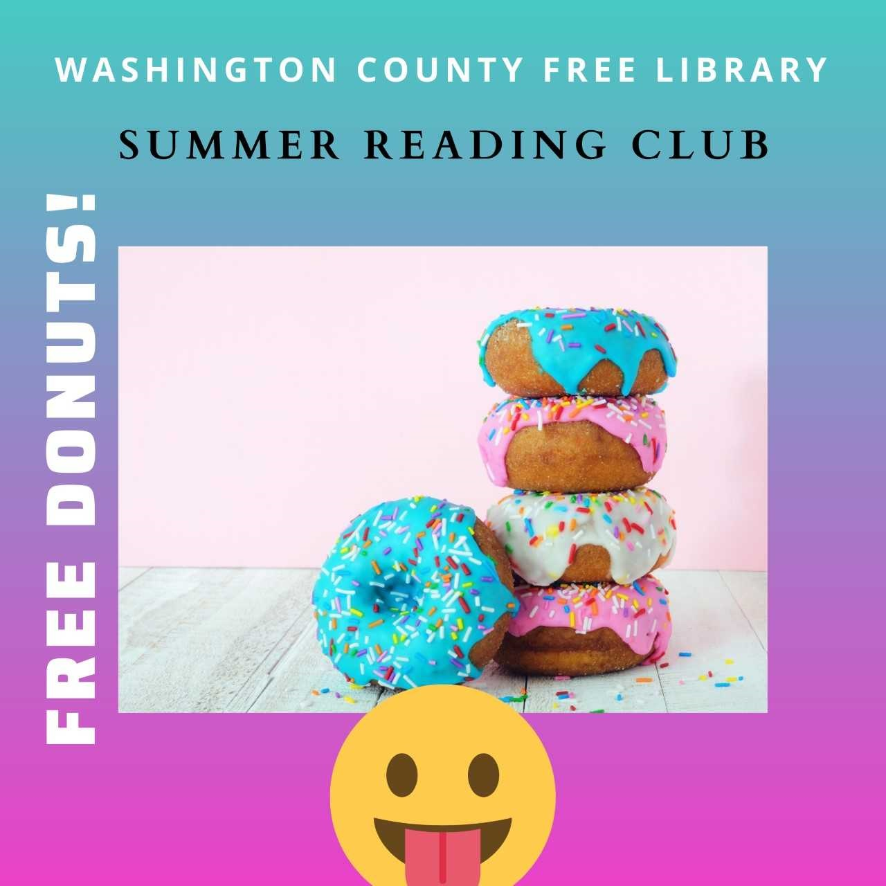 Donuts stacked with WCFL Summer Reading Club
