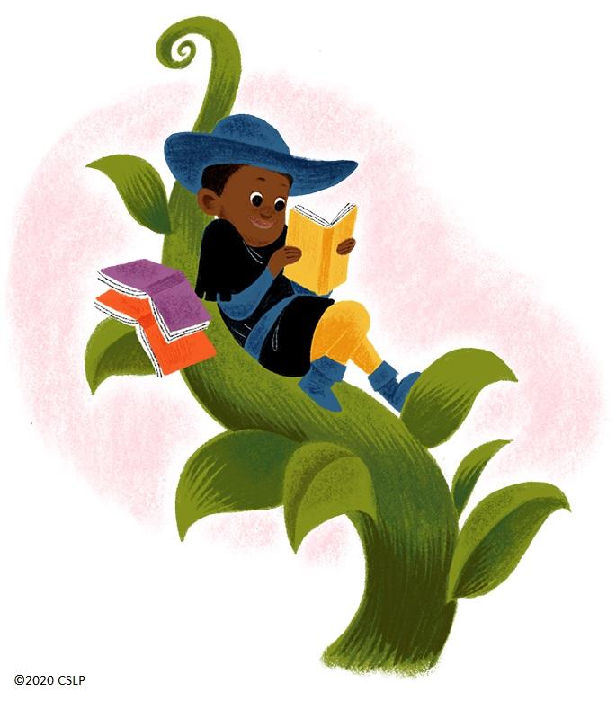 Boy reading book in beanstalk