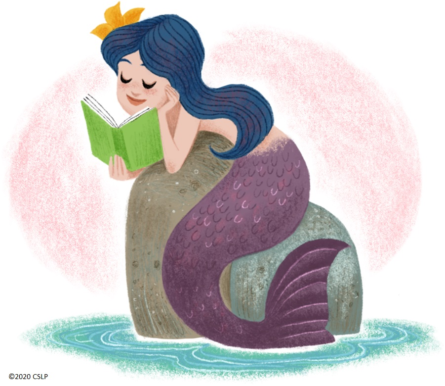 Mermaid on a rock reading a book
