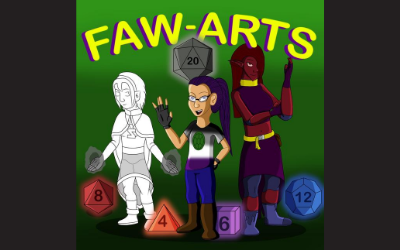 FAW Arts logo with 3 animee game characters