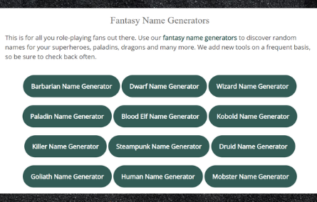 Screen capture of Fantasy name generator