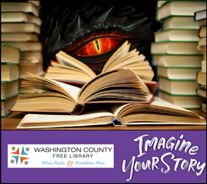 Dragon eye peering from behind books