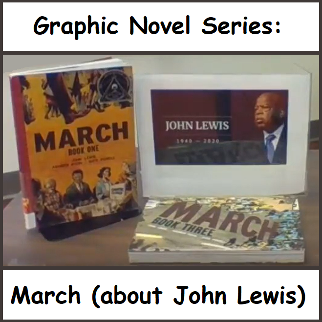 Image of Congressman John Lewis and book cover - March
