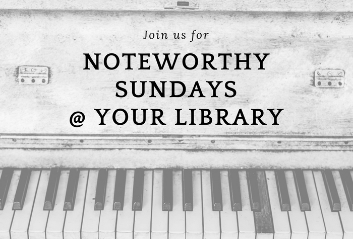 Text join us for Noteworthy Sundays over photo of piano keys