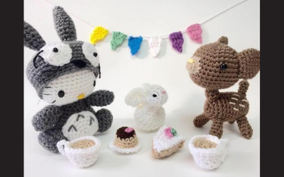 Image of crocheted animal crafts at a tea party