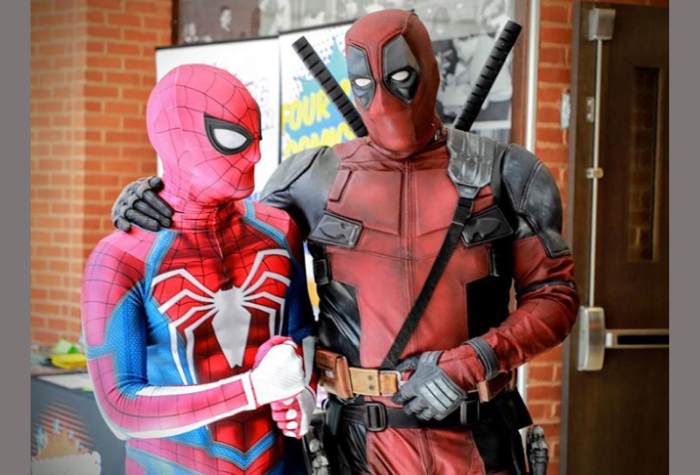 Cosplay characters dressed as Spiderman and Deadpool