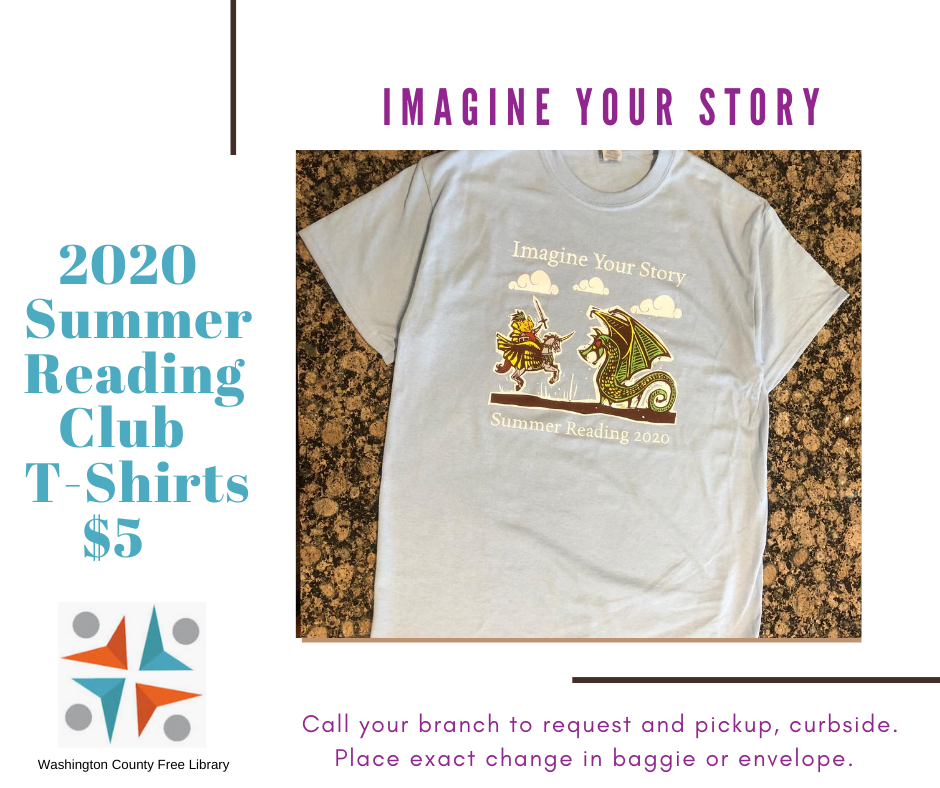 Tshirt graphic with Summer Reading Club theme Imagine Your Story