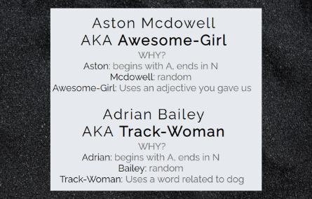 Screen capture of Superhero name generator