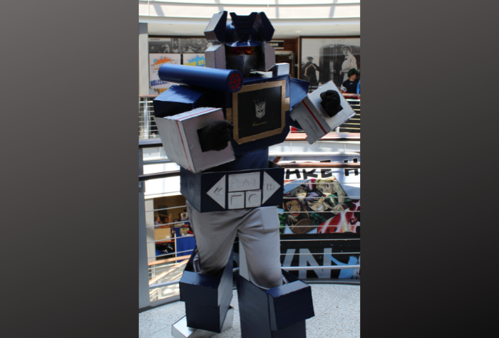 Cosplay character dressed as Transformer robot
