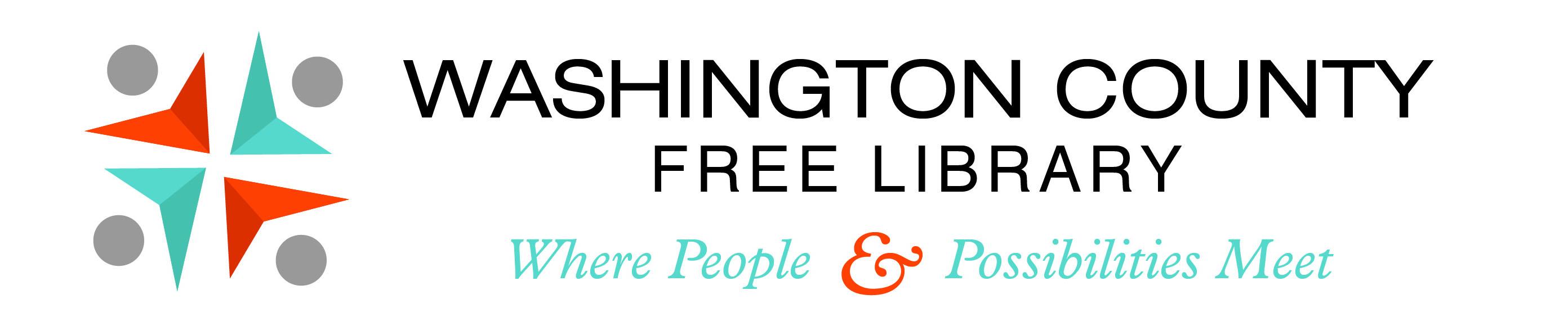Washington County Free Library logo - 4 points reading book