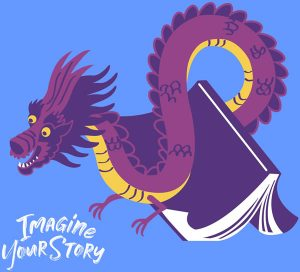 Dragon hovering over a book