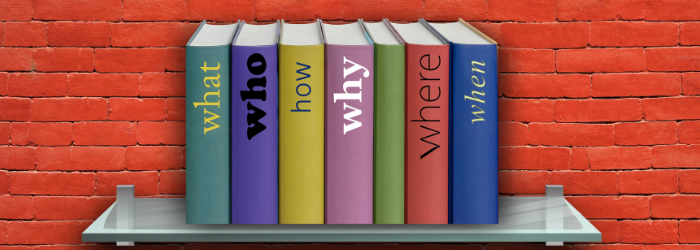 Books with text what, who, how, why, where, when