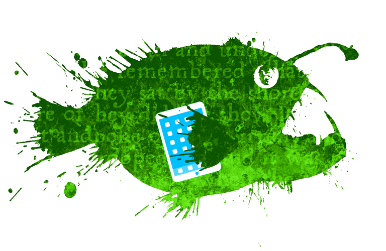 Cartoon of Fish holding a book