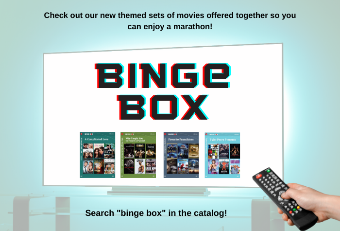 Image of TV screen lit up with Binge Box titles listed below large 3D movie-style Binge Box title and a hand holding a remote in the corner