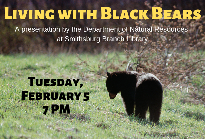 Photo of black bear in field with program information overlaid