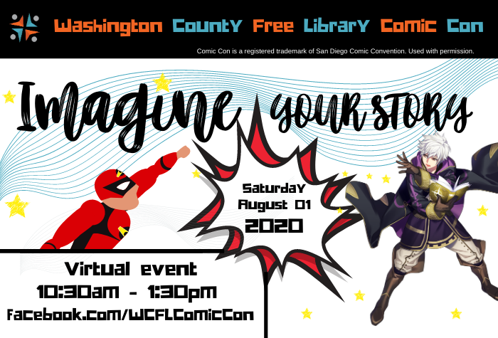Image of superhero flying and anime-style magician against event title in script