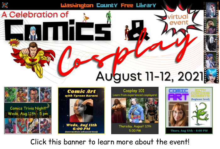 Comics in block lettering and cosplay in script with squares for each event featuring various superhero illustrations and photos of presenters