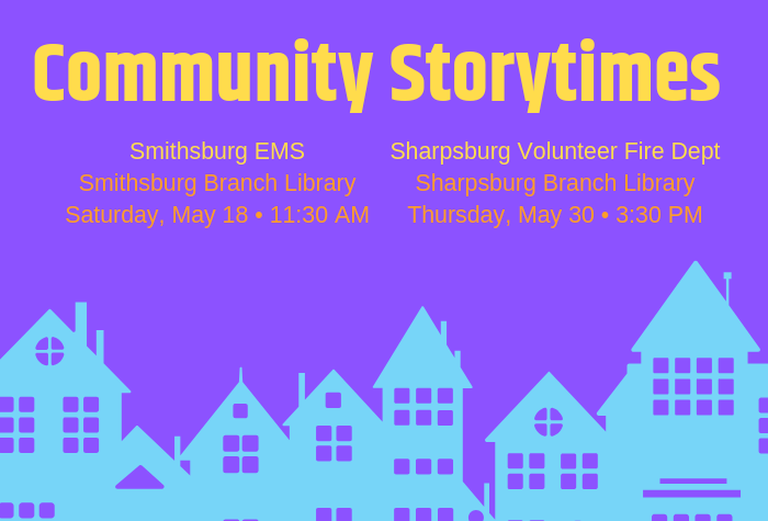 Graphic of houses in row with storytime dates listed above
