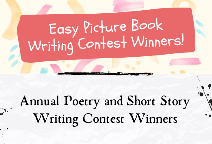 Top half of image is colorful paint background with a solid pink band and Picture Book Contest, bottom half is paper texture with ink splatters and Poetry/Short Story Contest Winners