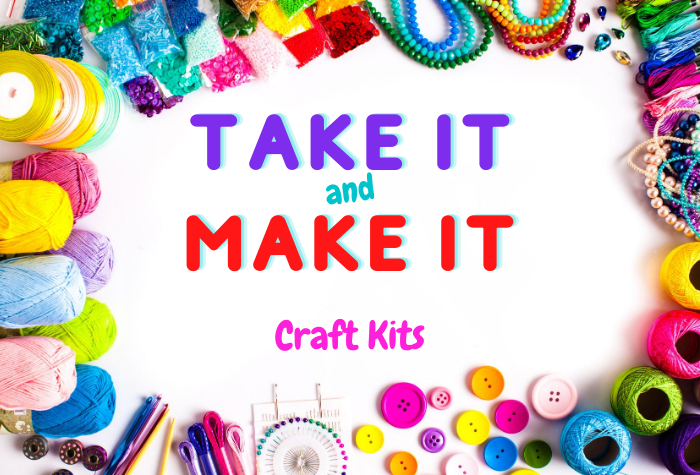 Piles of colorful crafting supplies in circle around edges of photo with craft kits in bubble letters at center