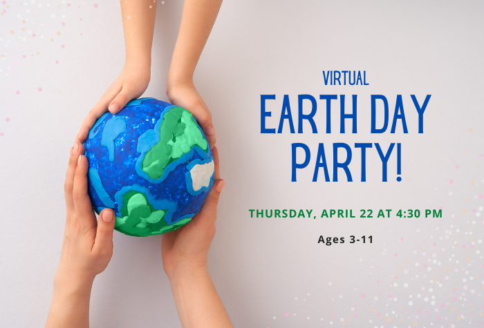 Photo of an adult's hands and a child's hands each holding up a model of Earth made of colorful dough and program title to right
