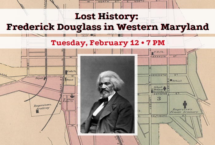 Historical map of Hagerstown with photograph of Frederick Douglass and program information in foreground