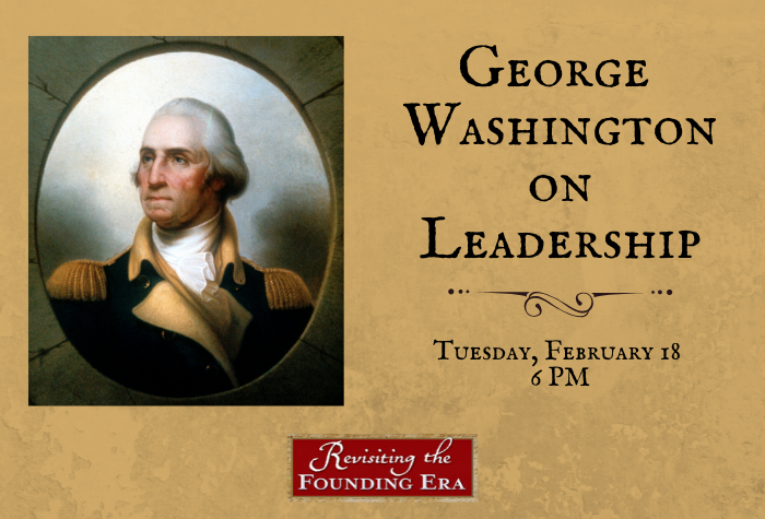 Portrait of George Washington against a textured background with program title