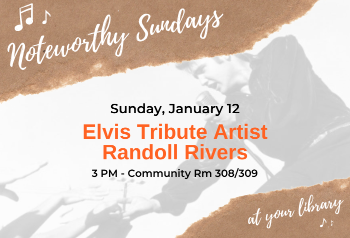 Image of brown torn paper with white script font and photo of Elvis dancing beneath with concert name and date in orange