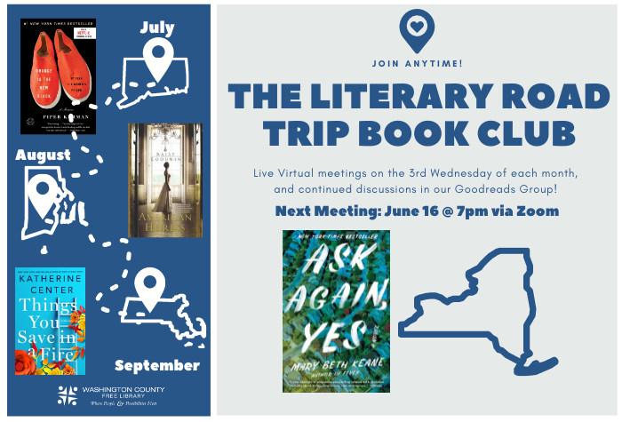 """Literary Road Trip Book Club """"Ask Again, Yes"""" by Mary Beth Keane"""