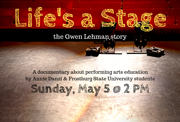 Photo of stage with text date and info about screening overlaid