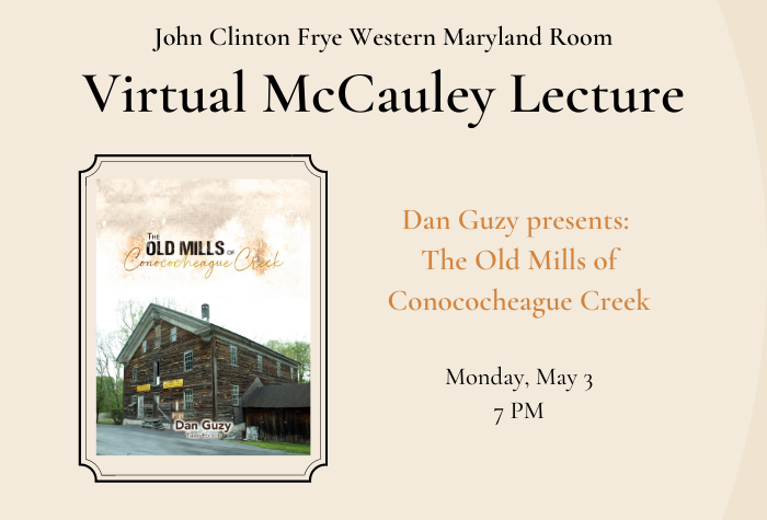 Image of wooden mill building on book cover against tan background with McCauley Lecture title and date to left