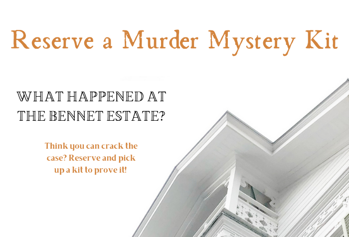 Gold lettering with Murder Mystery Kit against white background with corner of creepy estate house in corner