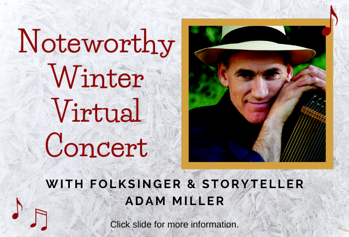 Image of man holding string instrument to right and concert title in red to left against frost background