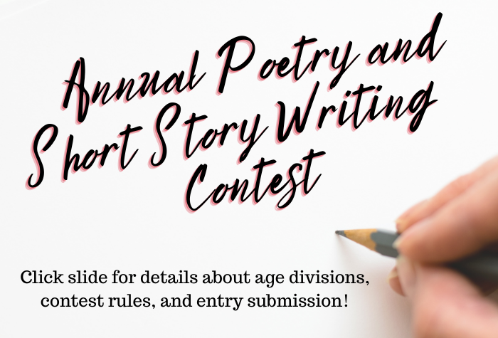 Hand holding a pencil against a white background with contest name in handwritten font