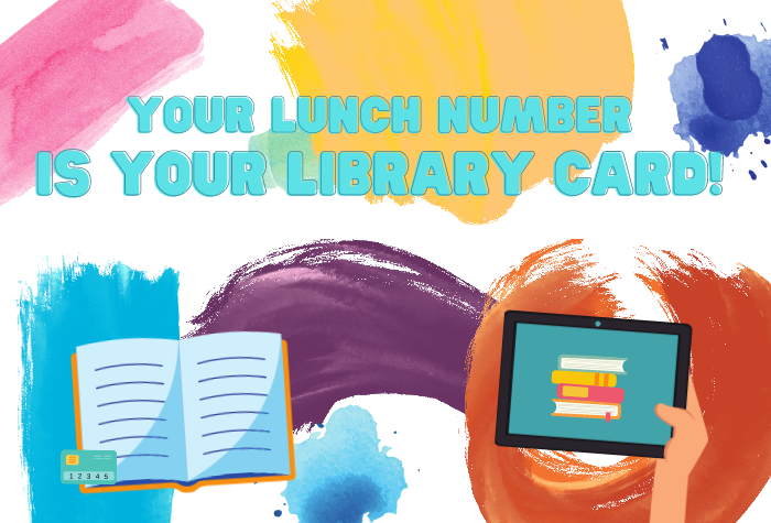 Paintbrushed multicolored strokes and splatters with open book, library card, and tablet with books on it in foreground