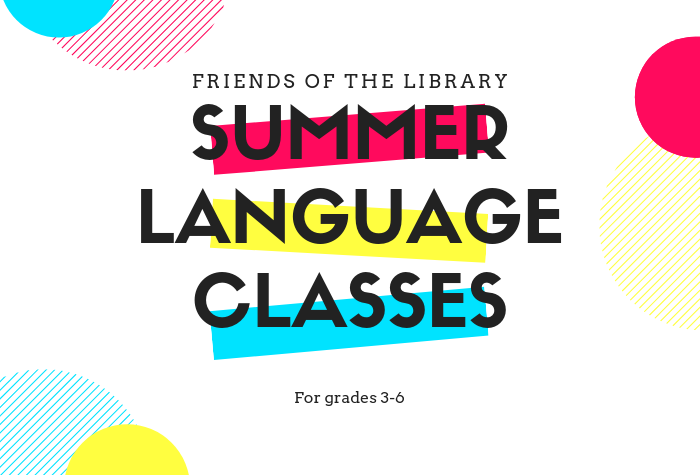 Summer Language Class over colorful 80s-style shapes