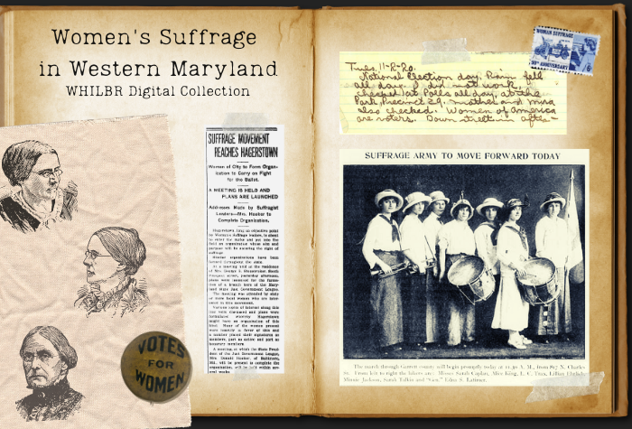 Aged scrabook graphic with clipping from newspapers, a Votes for Women, pin, and other small suffrage-related photos and items