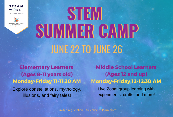 Galaxy background with STEM Summer Camp info in block lettering