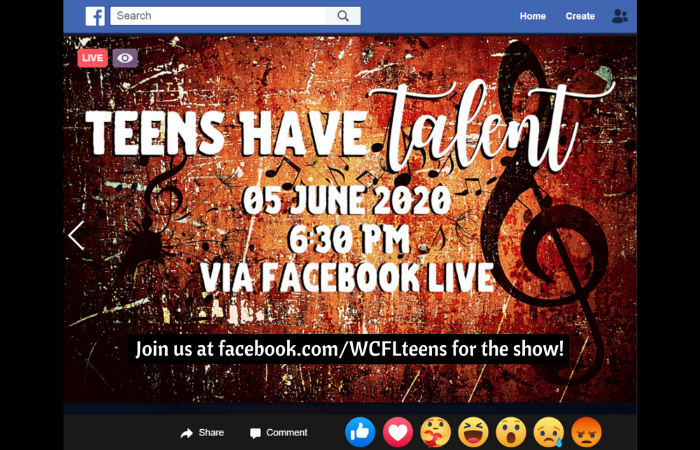 Teens Have Talent logo with Facebook bar and notification options below