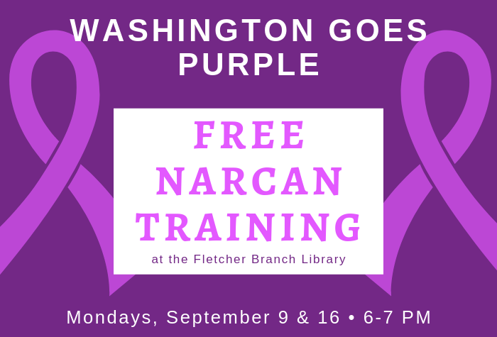 Purple ribbons against darker purple background program name and date in foreground