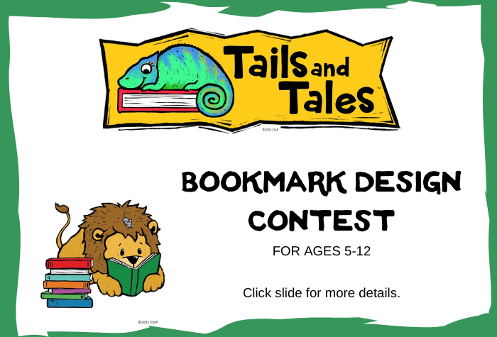 Tails and Tales logo with chameleon on book and lion reading a book below