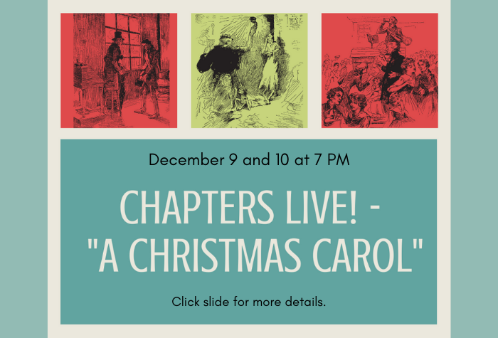 Line drawings of scenes from A Christmas Carol in red and green boxes above blue box with program title