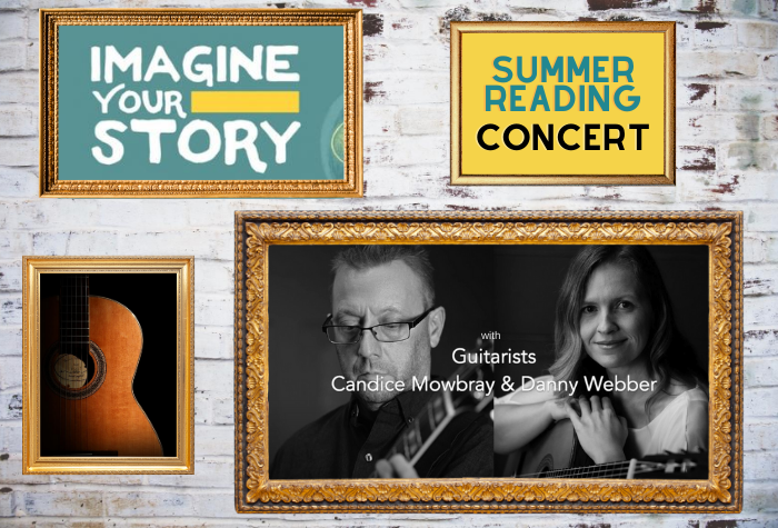 Golden frames on a wall with Summer Reading Club, a photo of a guitar, and below, and photo of a man and woman holding guitars